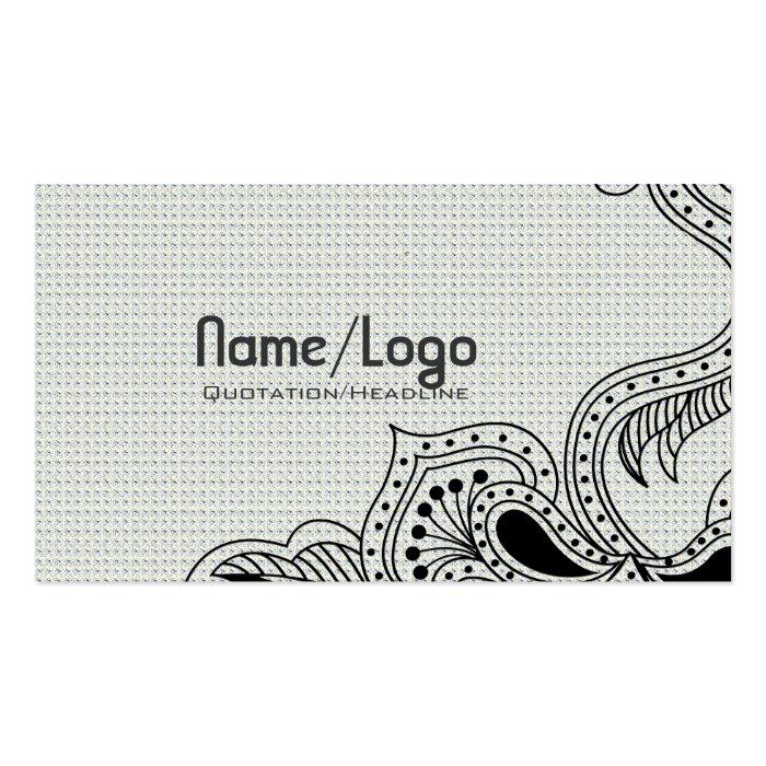 Black & White Retro Flower Design-Template Pack Of Standard Business Cards