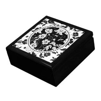 Black & White Retro Flowers & Swirls 2 Large Square Gift Box