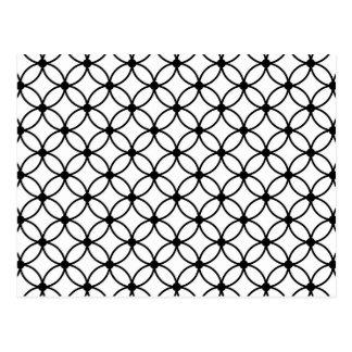 Black & White Retro Geometric Abstract Pattern Postcard