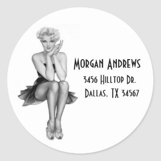Black & White Retro Glam Address Label Round Stickers
