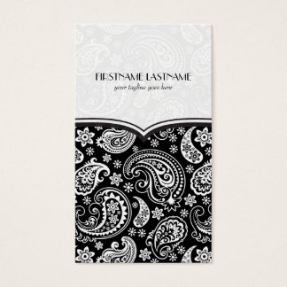 Black & White Retro Paisley Pattern 4 Design Business Card