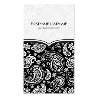 Black & White Retro Paisley Pattern 4 Design Pack Of Standard Business Cards