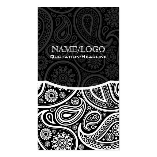 Black & White Retro Paisley Pattern Business Card Templates