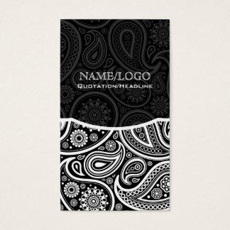 Black & White Retro Paisley Pattern Business Card