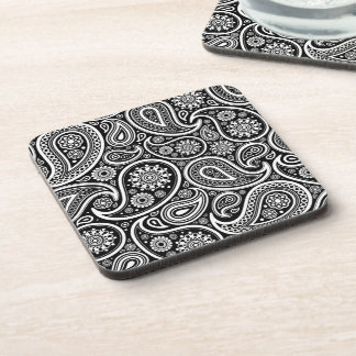 Black & White Retro Paisley Pattern Coaster