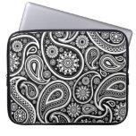 Black & White Retro Paisley Pattern Laptop Sleeve