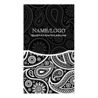 Black & White Retro Paisley Pattern Pack Of Standard Business Cards