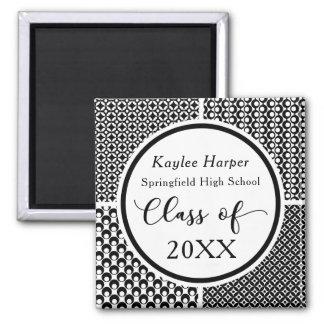 Black & White Retro Pattern Graduate Celebration Square Magnet