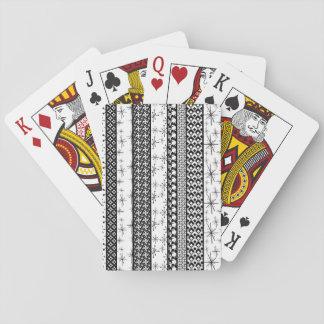 Black & White Retro Pattern Stripes 1 Playing Cards