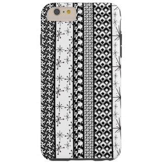 Black & White Retro Pattern Stripes 1 Tough iPhone 6 Plus Case