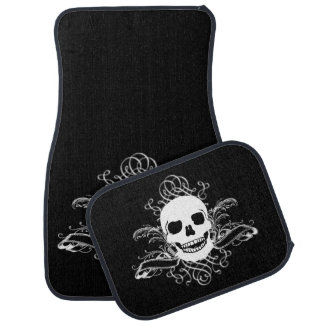 Black & White Retro Skull Car Mat