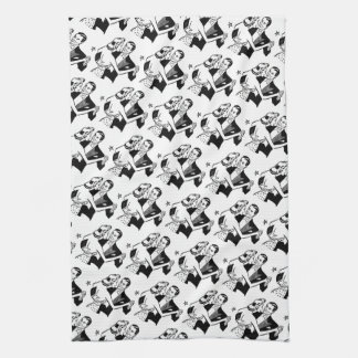 Black & White Retro Valentine's Dancers Tea Towel