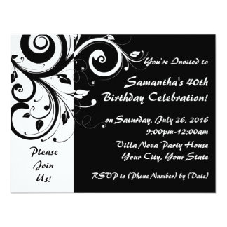 Black+White Reverse Swirl 40th Party Invitations