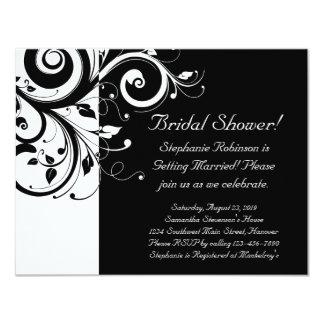 Black, White, Reverse Swirl Bridal Shower/ General 11 Cm X 14 Cm Invitation Card