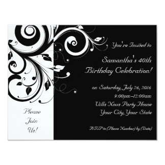 Black+White Reverse Swirl Party Invitations