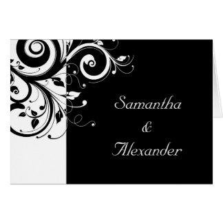Black+White Reverse Swirl Photo Wedding Invitation Cards