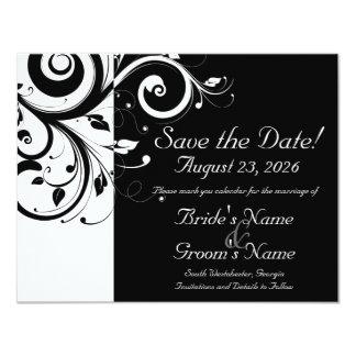 Black +White Reverse Swirl Wedding Save the Date 11 Cm X 14 Cm Invitation Card