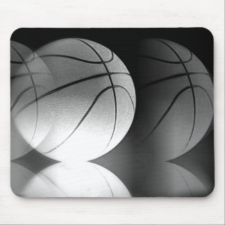 Black & White Rolling Basketball Ball Mouse Pad