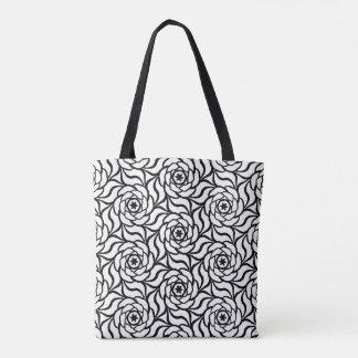 Black white Rose floral line art seamless pattern Tote Bag