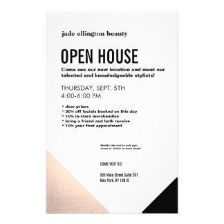 Black White,  Rose Gold Hair Salon Open House Flyer