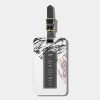 Black White Rose Gold Marble Geometric Triangles Luggage Tag