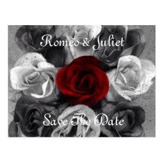 Black White Rose Save The Date Postcard