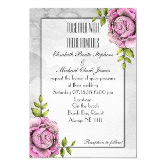 "Black White Rose: Semi-Gloss 5"" x 7"" - Wedding 13 Cm X 18 Cm Invitation Card"