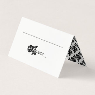 Black white rose wreath wedding folded escort place card