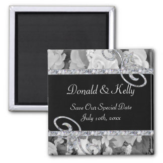 Black & White Roses & Diamond Swirls Wedding Magnet