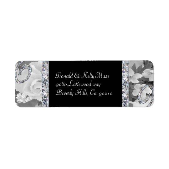 Black & White Roses & Diamond Swirls Wedding Return Address Label