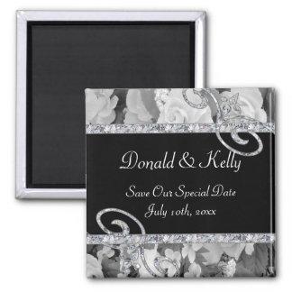 Black & White Roses & Diamond Swirls Wedding Square Magnet