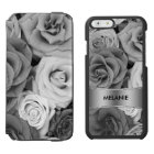 Black & White Roses Pattern Incipio Watson™ iPhone 6 Wallet Case