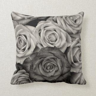 Black & White Roses Throw Pillow Throw Cushion