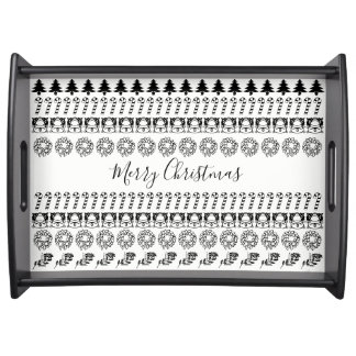 Black/White Rows Merry Christmas Font Art Pattern Serving Tray