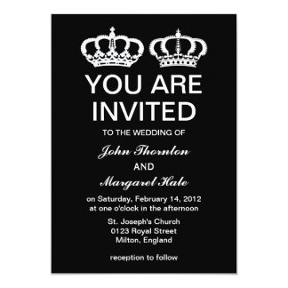 Black White Royal Couple Wedding 13 Cm X 18 Cm Invitation Card