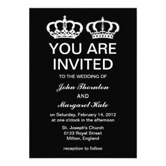 Black White Royal Couple Wedding Invitations
