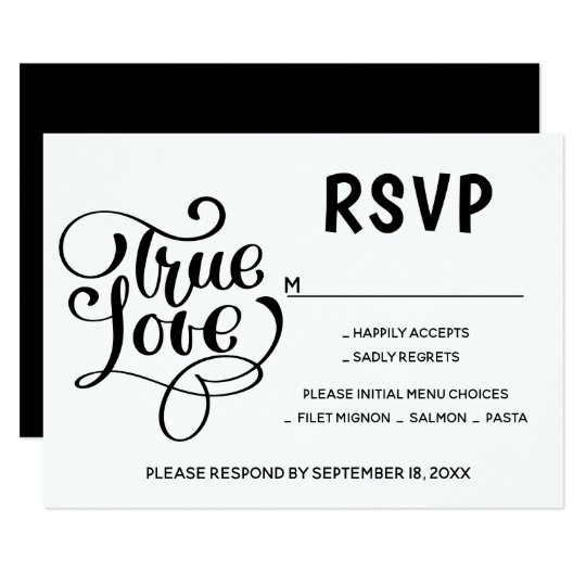 Black & White RSVP Typography Love Wedding Party Card