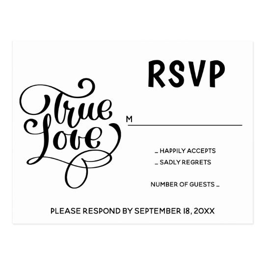Black & White RSVP Typography Love Wedding Party Postcard