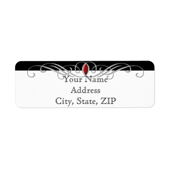 Black White Ruby Accent Anniversary Return Address Return Address Label
