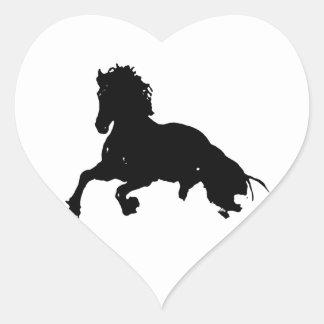 Black White Running Horse Silhouette Heart Sticker