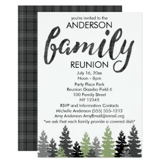 Black White Rustic Plaid Country Family Reunion Card