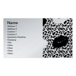 BLACK WHITE SAFARI NATURE ANIMAL PRINT LIPS KISSES BUSINESS CARD TEMPLATES