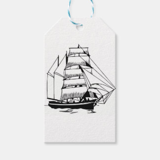 black white sail boat grand gift tags