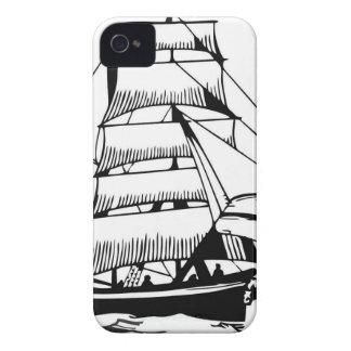 black white sail boat grand iPhone 4 covers