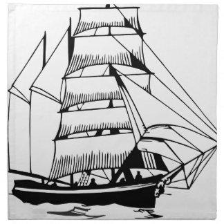 black white sail boat grand napkin