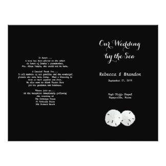 Black White Sand Dollars Folded Wedding Program Flyers