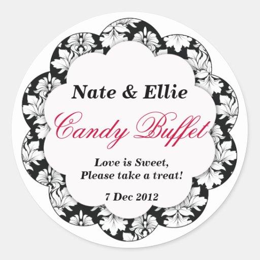 Black & White Scallop Damask Candy Buffet Sticker