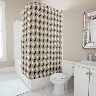 Black & White Scotties Your Background Color Shower Curtain