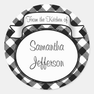 Black+White Script -From the Kitchen Of- Jar/Label Round Sticker
