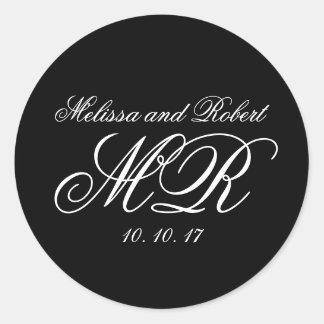 Black White Script Monograms Wedding Favor Sticker